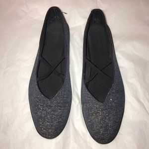 Anthropologie Apropos Blue/Gold Ballet Flat Shoes
